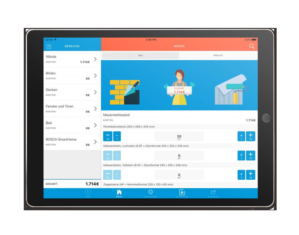 VECTIS Planer App – Kalkulation Wände